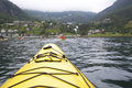 Kayaking the Fjord in Geiranger Norway Royalty Free Stock Image