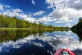 Kayaking in the karelia on rivers of north of russia Royalty Free Stock Image