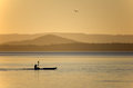 Kayaking on LakeTuggerah at sunset Royalty Free Stock Photo