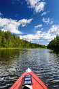 Kayaking in the river in karelia at the north of russia Stock Photography