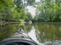 Kayaking on a river one summer day. Royalty Free Stock Photo