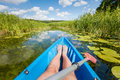 Kayaking on the river in the summer. Royalty Free Stock Photo