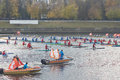 Kayaking on the river volga tver october during olympic torch relay october tver russia in relay was attended by vessels Royalty Free Stock Photos