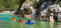 Kayaking on the soca river slovenia kobarid august sport kayakers rowing in august in kobarid Stock Images