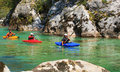 Kayaking on the soca river slovenia kobarid august sport kayakers rowing in august in kobarid Royalty Free Stock Photography