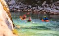 Kayaking on the soca river slovenia in summer Stock Image