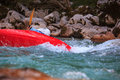 Kayaking on the soca river slovenia in summer Stock Photo