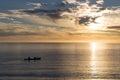 Kayaking at sunrise in Abel Tasman National Park Royalty Free Stock Photo