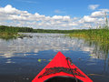 Kayaking on a waterway in mueritz nationalpark mecklenburg lake district germany Royalty Free Stock Photo