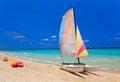 Kayaks and catamarans at the beautiful beach
