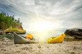 Kayaks on the coast of the lake Baikal. Royalty Free Stock Photo