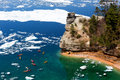 Kayaks & Ice Floes at Miners Castle - Pictured Rocks - Michigan Royalty Free Stock Photo