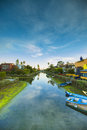 Kayaks parked on canals in venice beach california still has several neighborhoods that have access to the Royalty Free Stock Photo