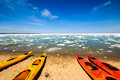 Kayaks in Pictured Rocks National Lakeshore Royalty Free Stock Photo
