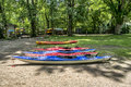 Kayaks rental bunch of colorful ready for rent Royalty Free Stock Photography