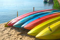 Kayaks row of beside the sea Royalty Free Stock Image