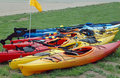 Kayaks on Shore Stock Images