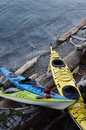 Kayaks at the shore Royalty Free Stock Photo