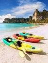 Kayaks On Tropical Beach, Acti...