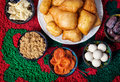 Kazakh food national dishes on the carpet with ornament in restaurant Stock Image