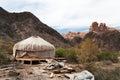 Kazakh yurt in sharyn canyon sharyn canyon is an km canyon on the sharyn river kilometres east of almaty kazakhstan Stock Image