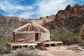 Kazakh yurt in sharyn canyon sharyn canyon is an km canyon on the sharyn river kilometres east of almaty kazakhstan Royalty Free Stock Photography