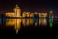 Kazakhstan capital city astana illuminated at night Stock Images