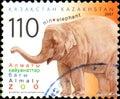 KAZAKHSTAN - CIRCA 2007: Postal stamp printed in Kazakhstan shows elephant. Almaty Zoo Royalty Free Stock Photo