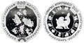 Kazakhstan collectible silver coin 500 tenge Royalty Free Stock Photo