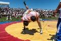 Kazaksha kyres the national wrestling in kazakhstan lepsinsk almaty region jul competitions during festival Royalty Free Stock Image