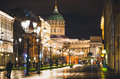 Kazan Cathedral and Nevsky Prospect at night lights old houses Saint Petersburg Royalty Free Stock Photo