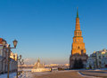 Kazan kremlin. The falling tower on relief against cityscape sky Royalty Free Stock Photo