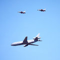 KC-10 and F-16`s in-flight at Barut airshow Royalty Free Stock Image
