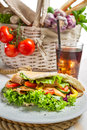 Kebab with fresh vegetables and meat on white background Stock Images