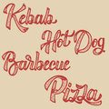 Kebab, hot dog, pizza, barbecue. Set of hand drawn lettering