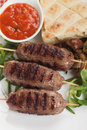 Kebab minced meat skewer grilled turkish with bread and sauce Stock Image