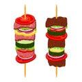 Kebabs on skewers, roasted meat - lamb, pork. Cartoon flat style.