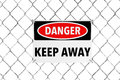 Keep Away Sign with Wired Fence Royalty Free Stock Photo