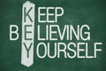Keep believing yourself acronym of key believe in written in chalk on a blackboard Royalty Free Stock Images