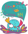 Keep calm and carry on illustration funny colorful owl says Royalty Free Stock Images