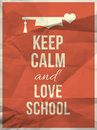 Keep calm love school design quote with graduation hat hearth and typographic on red crumpled paper texture and Royalty Free Stock Photos