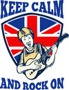 Keep Calm Rock On British Flag Queen Granny Guitar Stock Image