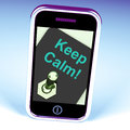 Keep calm switch shows keeping calmness tranquil and relaxed showing Royalty Free Stock Images