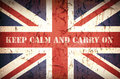 Keep calm union jack second world war with patriotic slogan that was used by the british government to strenghten public morale in Stock Photos