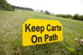 Keep carts on path golf sign Stock Images