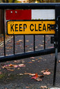Keep Clear Sign Gated Street Close Up