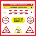 Keep distance sign. Please keep your distance.