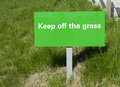 Keep off the grass sign green warning Royalty Free Stock Photography