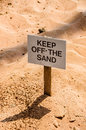 Keep off the sand a warning sign telling people to quick ahead Stock Photography
