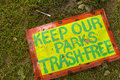 Keep Our Parks Trash-Free Royalty Free Stock Photo